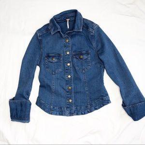 Free People Slim Denim Shirt Jacket XS